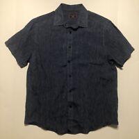 Untuckit Mens 100% Linen Button Down Shirt Navy Men's Size Medium