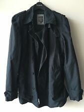 Pepe Jeans London Black Trench Style Short Cotton Coat Sz S