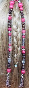 Red Glass, Brown Wood & Silver Metal Bead Hair Tie Handmade