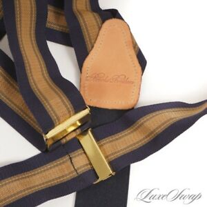 Brooks Brothers Made England Navy Ochre Khaki Hobnail Repp Suspenders Braces #10