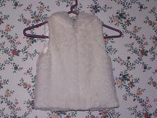 Wonderkids Winter White Zip Front Hooded Plush Vest - Size 5T