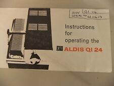 Instructions slide projector ALDIS QI 24 CD/EMail