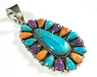 """LARGE 925 STERLING SPINY OYSTER MULTICOLOR TURQUOISE 2 1/4"""" x 1 3/16"""" PENDANT"""