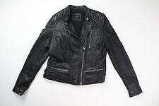 Zara Black Genuine Leather Biker Moto Quilted Shoulder Jacket Size Medium