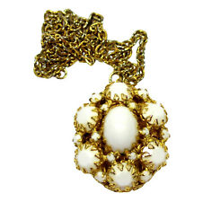 Cabochon Rhinestone Locket Pendant Necklace Vintage Schreiner White Milk Glass