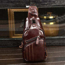 Genuine Leather Men's Crossbody Bag Breathable Sling Backpack Hilking Chest Bag
