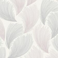 Rasch - Gatsby Fan Feather Motif - Soft Pink & Silver - Glitter Wallpaper 319705