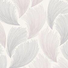Rasch - Gatsby Fan Feather Motif - Soft Pink & Silver - Glitter Wallpaper 319705