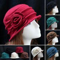 Fashion Women Ladies Elegant Wool Flower Hat Winter Vintage Cloche Bucket Cap US