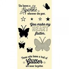 HAMPTON ART JILLIBEAN SOUP Clear Stamps BUTTERFLIES Make My Heart Flutter