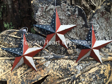 "(Set of 3 )  8"" PATRIOTIC AMERICANA  PRIMITIVE COUNTRY G8T W BLACK BARN STARS"