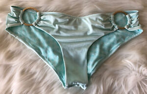 VICTORIA'S SECRET Bikini Bottoms Size Med Gold Rings Pale Aqua Blue Silky