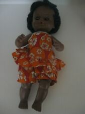 """Vintage Uneeda Black 13"""" Doll, Drinks and Wets, 1969, Rooted Hair"""