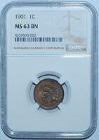 1901 NGC MS63BN Indian Cent BU