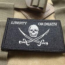 LIBERTY OR DEATH PIRATE SKULL CROSS SWORDS BIKER TACTICAL PATCH/BLACK