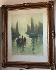 French Harbor + Art Nouveau Gilt Frame Antique Fernand Le Gout-Gerard Aquatint
