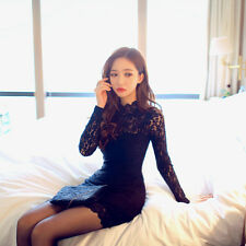 Womens Bodycon Dress Sexy Lace Backless Long Sleeve Cocktail Party Mini Clubwear