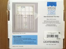 """WHITE DONAHUE Top of the Window Tiers Grommet Tier Pair 56""""W (28"""" ea) x 36""""L"""