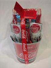 Coca-Cola 7- Piece Gift Bucket Set NEW 2 GLASSES POPCORN BOTTLE OPENER STRAWS
