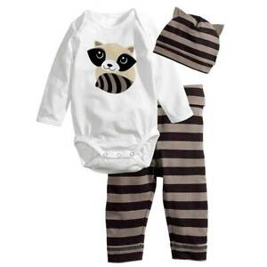 Newborn Infant Baby Kid Boy Girl Animal Romper Top Pants Hat Trousers Outfit Set