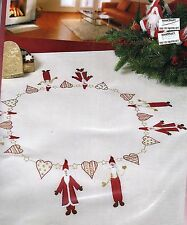 """Modern """"Scandi"""" Santa tablecloth KIT to embroider. Hand Stamped 100% cotton  ."""