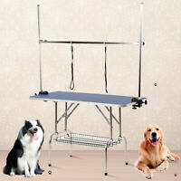 """32""""/39""""/47"""" Adjustable Dog Pet Grooming Table w/ Arm Noose Tray Rubber Mat Opt"""