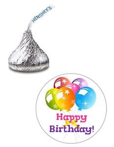 108 HAPPY BIRTHDAY BALLOONS HERSHEY KISS KISSES CANDY STICKERS *