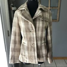 Banana Republic Women's Wool Alpaca Tan Plaid Button Winter Pea Coat Jacket S