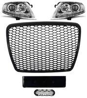 Für Audi A6 4F 04-12 RS6 -Look Wabengrill + Led Xenon Scheinwerfer Stoßstangen 4