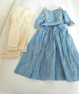 """Antique Dress Blue/White Stripe & 2 Undergarments for a 20""""-22"""" China Head Doll"""