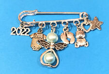 Baby Boy Charm Pin Silver Plated 2022 Guardian Angel New Mum Shower Reveal Gift