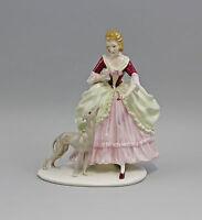 9941799 Porzellan Figur Ens Thüringen Rokoko-Dame mit Windhund H22cm