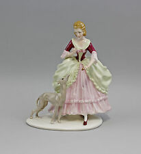 Porcelain Figurine Ens Thuringia rococo lady with Wind dog H22cm 9941799