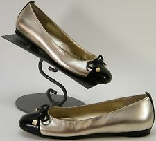 WOMENS RALPH LAUREN CAP TOE BOW FLATS METALLIC GOLD BLACK LEATHER SHOES SIZE 6 M