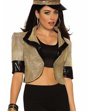 Disco Gold Womens Adult 80S Diva Sexy Costume Cropped Jacket-Std