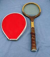 Vintage Rex Sport ''Grand'' Antique Wooden Tennis Racquet w/ Sleeve RARE