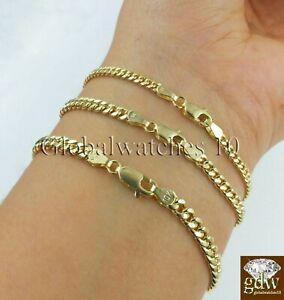"Real 10k Yellow Gold Miami Cuban link Bracelet  2mm 3mm 4mm Men Women 8"" inch"