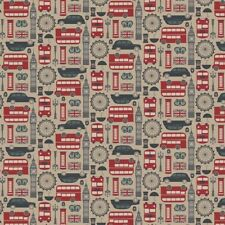 Travel Fabric - Destinations London Bus Flag Big Ben Taupe - Northcott YARD