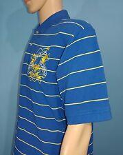 Mens Ed Hardy Love Kills Slowly Blue Striped Polo Shirt Size L Large (A9)