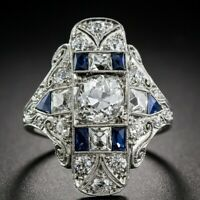 Fashion Blue Sapphire 925 Silver Women Jewelry Party Ring Art Deco Size 6-10 Ms