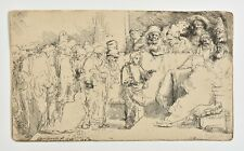 REMBRANDT Heliogravure Etching, print, Christ disputing with Doctors.