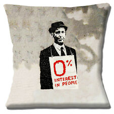 "Banksy Graffiti Artist Man '0% Interest in People' 16"" Pillow Cushion Cover"