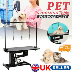 Large Hydraulic Pet Dog Grooming Table with H Bar Arm 3 Leash Heavy Duty UK