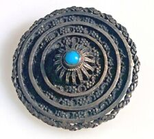 MADE IN PALESTINE STERLING SILVER TURQUOISE ROUNDEL BROOCH.