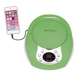Portable CD Player with AM FM Radio Potable radios Boom Box with Aux Green