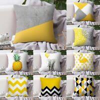 "18x18"" Yellow Geometric Pattern Cushion Cover Throw Pillow Case Home Sofa Decor"