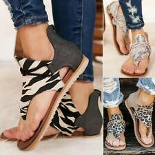 Womens Leopard Flats Sandals Ladies Strappy Flip Flops Gladiator Beach Shoes NEW