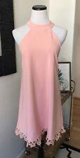 Lulus Peach Pink Short Cute Lace Summer Beach Vacation Halter Dress Large