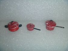 Dollhouse or Barbie Miniatures~*~Red Spatterware / Freckled Metal Pots & Lids #1