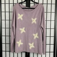 Liquid by Sioni Women's Sweater Embellished Style Flower Pearl Size XLarge